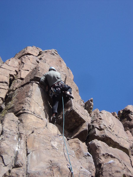 Brian starting up the crux, ~5.9.