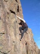 Rock Climbing Photo: Bill Hazell powers through the crux of Startled, ~...