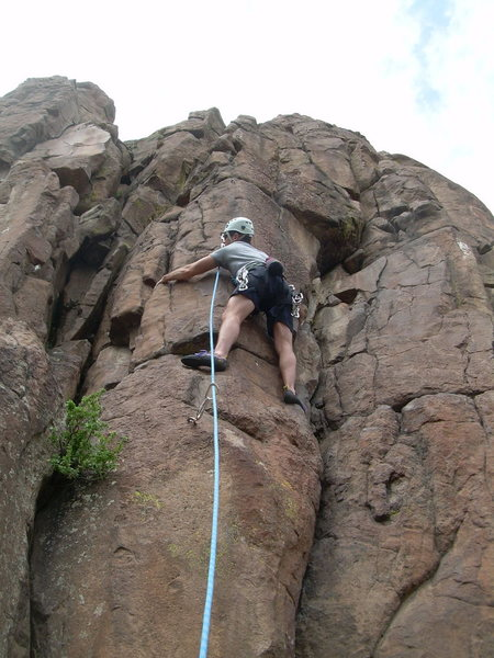 Rock Climbing Photo: Jeff Gunter at the awkward move near the 2nd bolt.