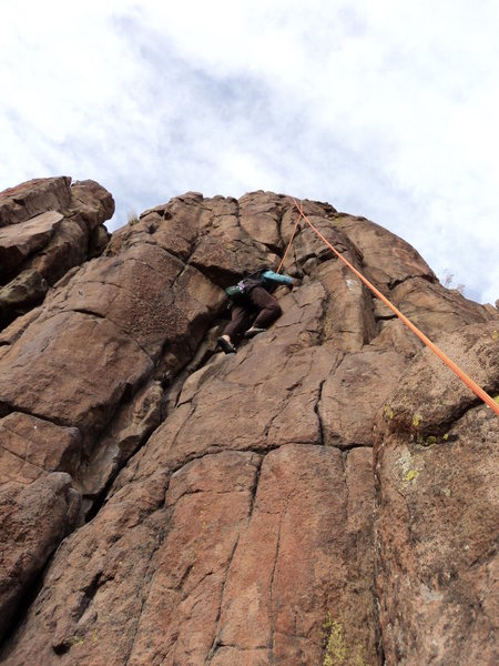 Rock Climbing Photo: Deb ascends the line.