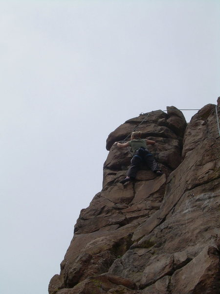 Rock Climbing Photo: Neide on the right variation of the top section.