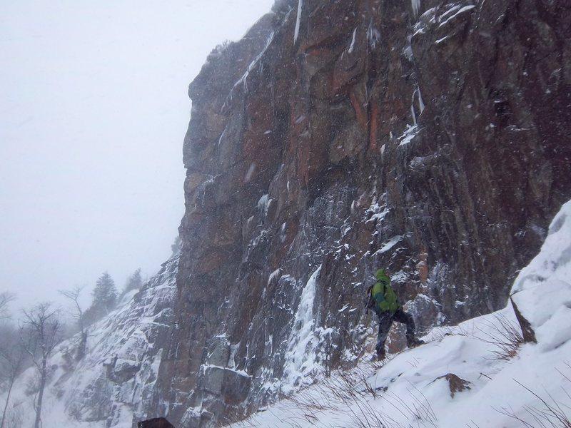 Rock Climbing Photo: Scott Arno below the main face of Azure Mountain
