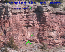 Rock Climbing Photo: Location of Pursuing the Red Baron on the crest wa...