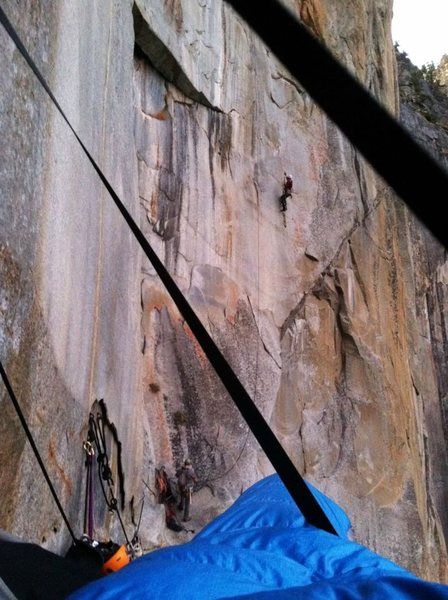 Rock Climbing Photo: Staying in my bag while the party ahead of us lead...