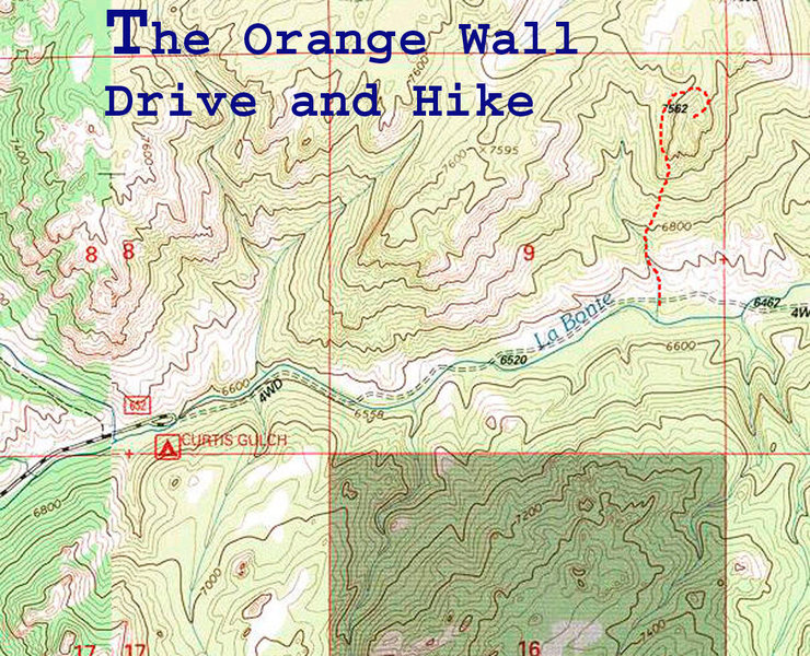 Rock Climbing Photo: Map showing drive and hike from Curtis Gulch CG to...