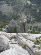 Rock Climbing Photo: Looking down to pinnacle we passed on the way up. ...