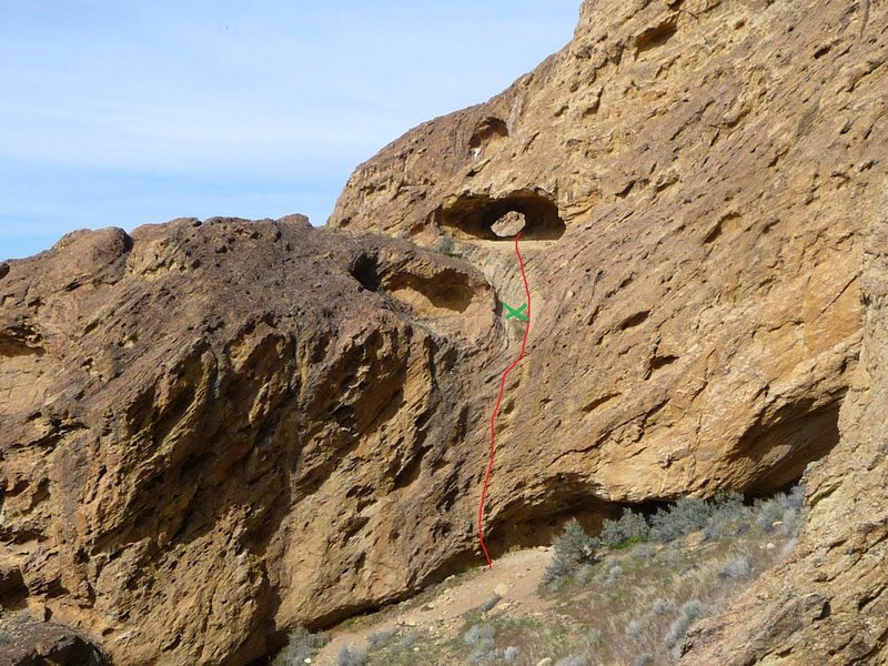 """Red is pitch #1 route to The Cave...The green """"X"""" is where I remember the anchors were at the top of pitch #1"""