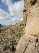 Rock Climbing Photo: Wendy belays as Andy gets overheated on English Br...