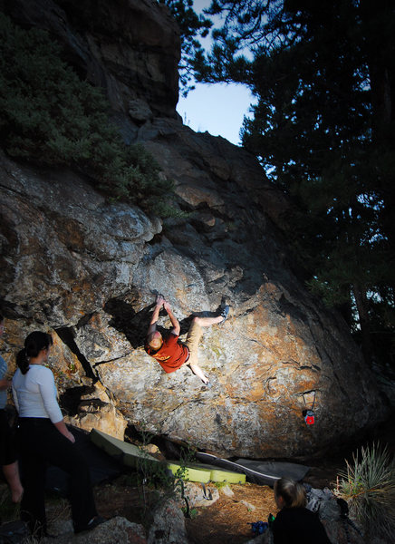 Jake about to cruise through the crux into to topout of Troll Cave at Three Sisters Park. <br> <br> 5/21/10.<br> <br> http://andylibrande.com/news/