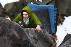 Rock Climbing Photo: Ryan Hussey on the v0 crack between Welcome Crack ...
