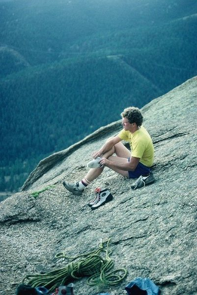 Rock Climbing Photo: Brain Hansen getting ready to run for shelter from...