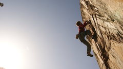 Rock Climbing Photo: Sticking the final toss at the top....