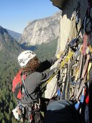 "Rock Climbing Photo: Travis Strong organizing the belay, P4 of ""Sk..."