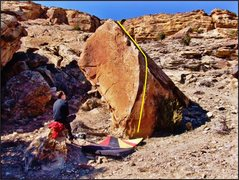Rock Climbing Photo: The Kavorka problem on the Pullout Boulder.