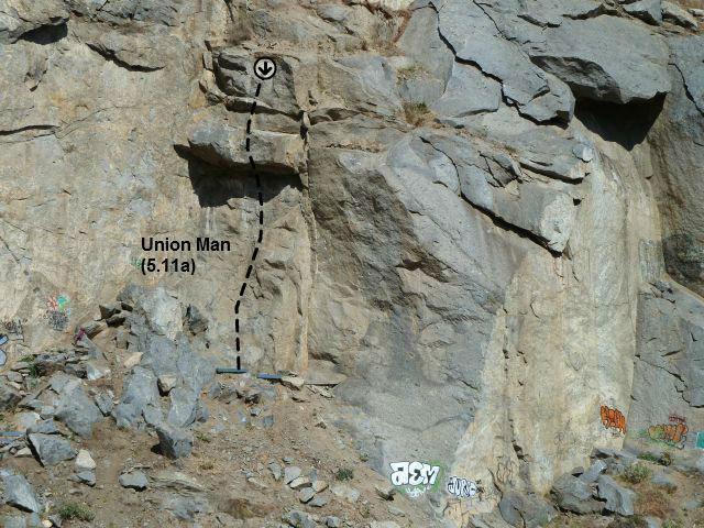 Rock Climbing Photo: Union Man (5.11a), Riverside Quarry