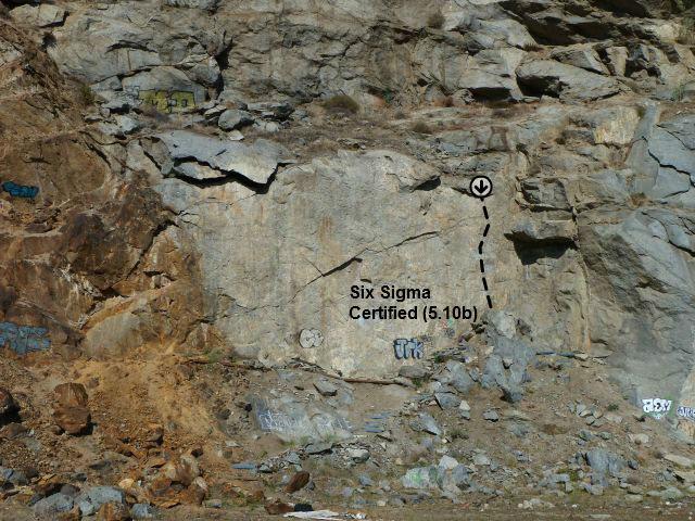Rock Climbing Photo: Six Sigma Certified (5.10b), Riverside Quarry
