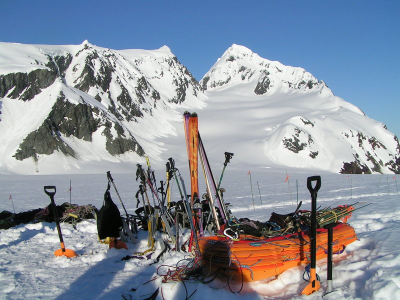 Group ski gear and sleds