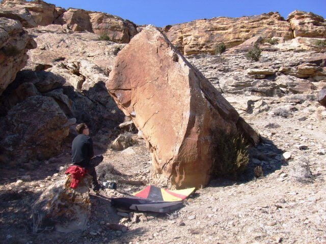 The Pullout Boulder, route follows left side of the arete.