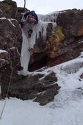 Rock Climbing Photo: Crux ice pitch silk road first flat iron boulder C...