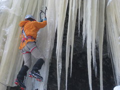 Rock Climbing Photo: lock Veil on a very cold day. Brittle ice, crazy s...