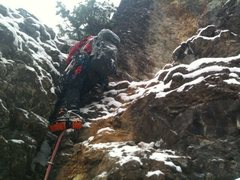 Rock Climbing Photo: Frank Robertson in route to building the first anc...