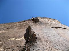 "Rock Climbing Photo: Josh stemming on the upper ""Offset Corner.&qu..."