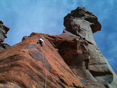 Rock Climbing Photo: Crazy hot place in summer. Climbing with Frank Rob...
