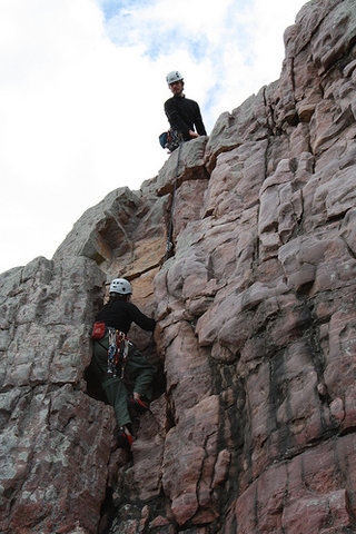 Rock Climbing Photo: View of the upper dihedral portion of the climb.