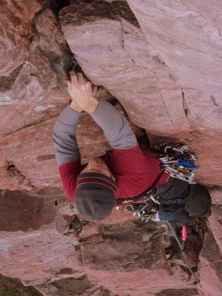 Rock Climbing Photo: Jeremy protecting the crux.