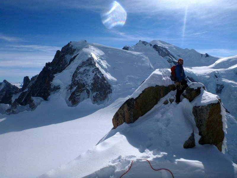 Rock Climbing Photo: Enjoying the view! With Triangle du Tacul and Mont...