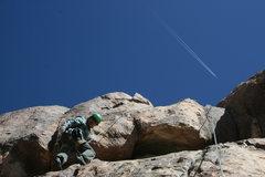 Rock Climbing Photo: Albert Ramirez just below and left of the upper cr...