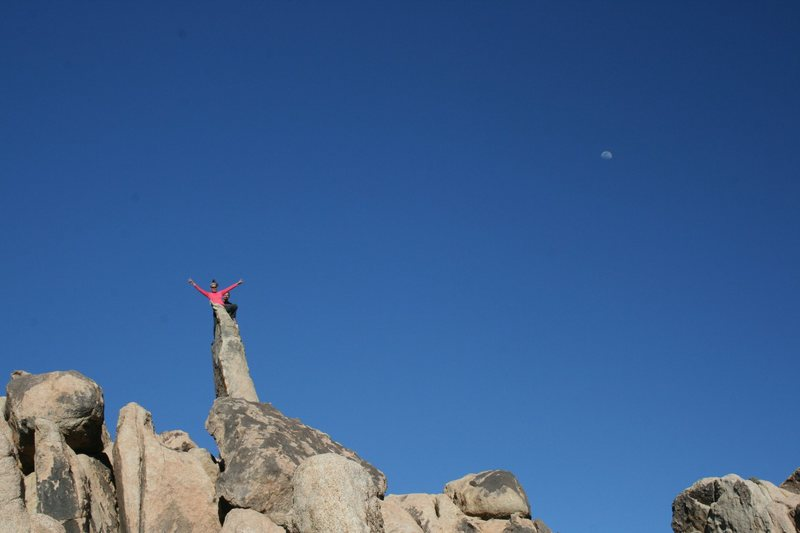 Agina Sedler and Nathan Fitzhugh on a Pinnacle on the South/West approach to the Wailing Sax Wall.