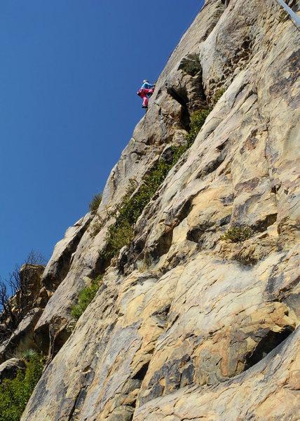 Kathleen high on Crescent Direct, at Upper Gibraltar.