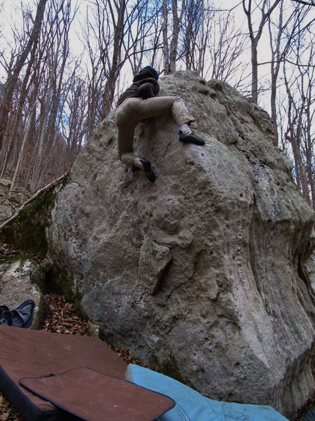 "Kevin on the Control Boulder climbing ""Block Party"""