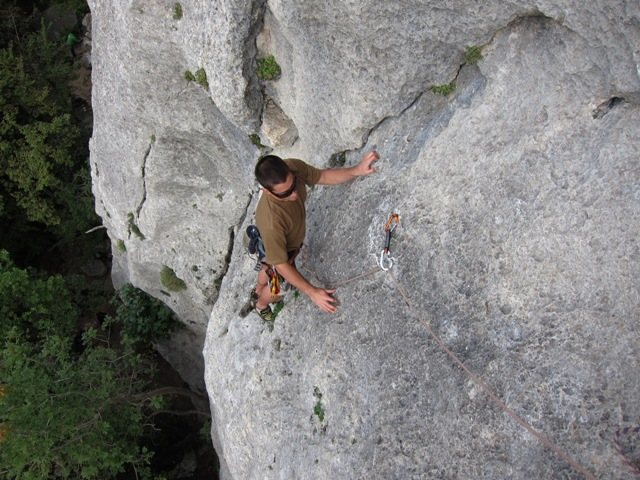 Rock Climbing Photo: Near the anchor on the first pitch of Il Gufo.