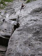Rock Climbing Photo: Continuing up La Pulce at Monte Cucco's Settore Ce...