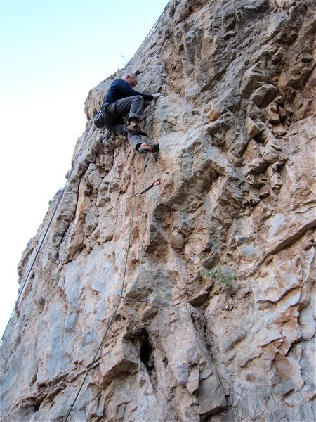 Rock Climbing Photo: Working the route.