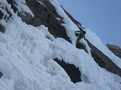 Rock Climbing Photo: Kris Gorny pulling through the roof on the first p...