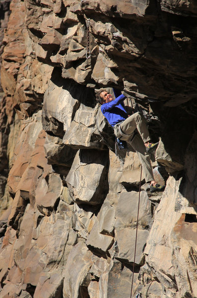 Rock Climbing Photo: John Peach takles the first roof on fun big holds!...