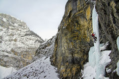 Rock Climbing Photo: Dave Rone on the first pitch of Fang and Fist. Feb...