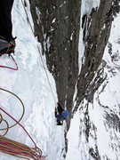 Rock Climbing Photo: Nate Erickson coming up the 1st pitch of the Repli...