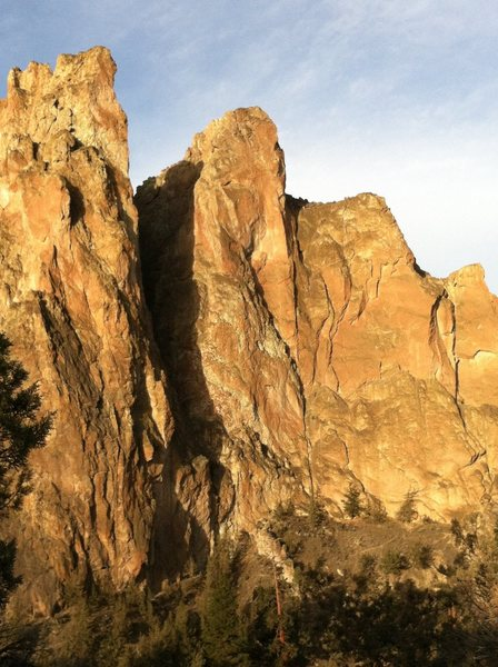 Smith Rock Group, NE Face.  Freedom is on the Pillar climber's right of the large gully.  The crux arete is clearly visible on the right side of the tower at two third's height.