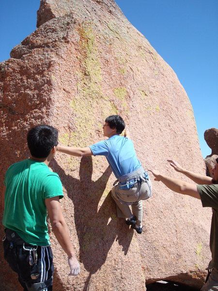 Rock Climbing Photo: Figuring out the feet.