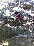 Rock Climbing Photo: My first lead climb.