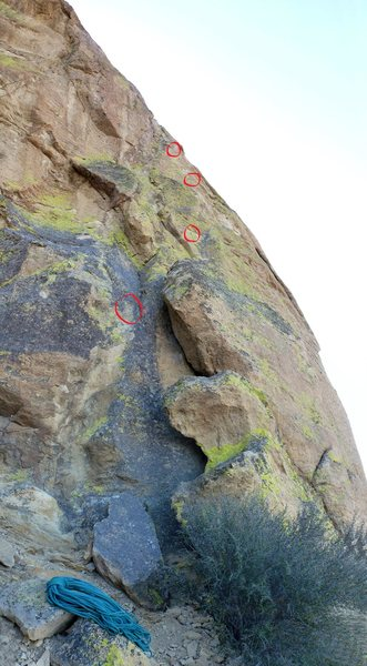 Rock Climbing Photo: The first several bolts on pitch one... The first ...