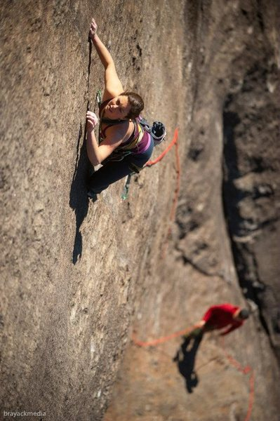 Rock Climbing Photo: Sarah Gaskins slithering up two legged snake.  Pho...