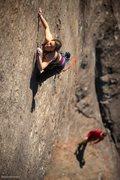 Rock Climbing Photo: Sarah Gaskins slithering up two legged snake.  Pho...