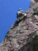 Rock Climbing Photo: Shock and Awe  Patty Black nearing the top third o...