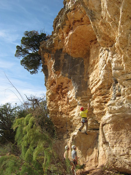 Rock Climbing Photo: Climber on Rockabout 10a, which goes up the gray f...