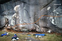 Rock Climbing Photo: Undertow V9, the first half topo
